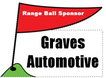Range Ball Sponsor Flag on Tee Shaped Sign